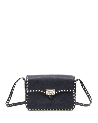 Rockstud Leather Round Flap Shoulder Bag, Denim Blue