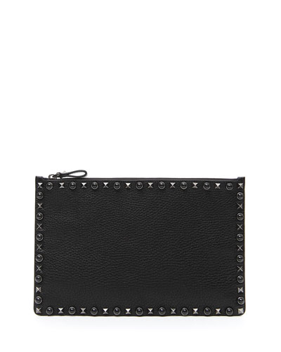 Rockstud Rolling Small Zip Clutch Bag, Black
