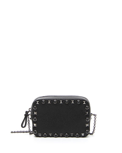 Rockstud Rolling Small Chain Camera Crossbody Bag, Black