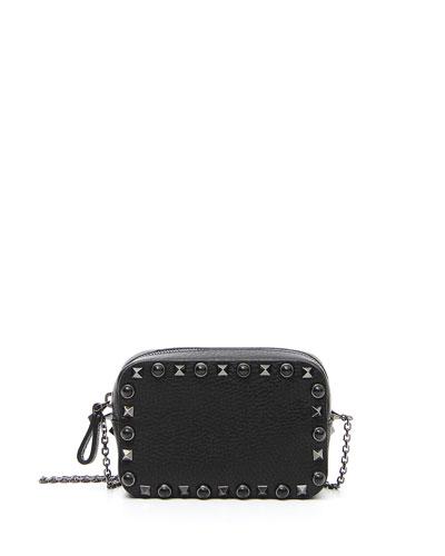 Rockstud Rolling Small Chain Camera Crossbody Bag, Black