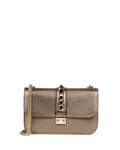 Lock Rockstud Metallic Leather Shoulder Bag