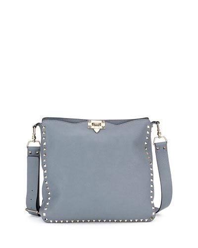 Rockstud Medium Hobo Bag, Light Gray