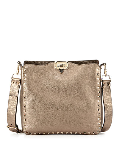 Rockstud Small Metallic Leather Hobo Bag, Bronze