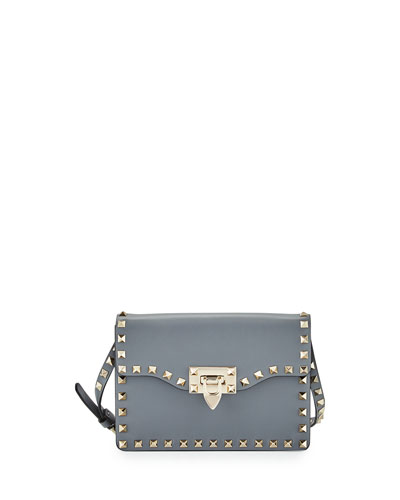 Small Rockstud Flap Crossbody Bag, Gray