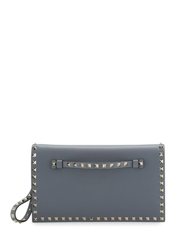 Rockstud Medium Flap Wristlet Clutch Bag, Gray
