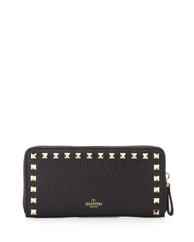 Rockstud Zip-Around Wallet, Black