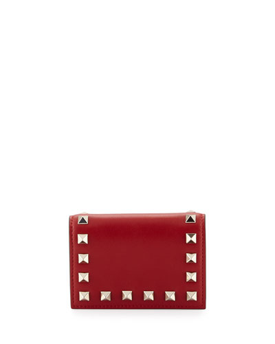 Rockstud Small Full-Flap Card Case, Red
