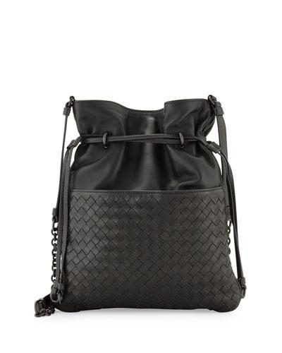 Intrecciato Medium North-South Bucket Bag, Gray