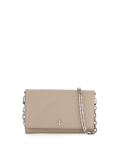 Robinson Saffiano Chain Wallet, French Gray