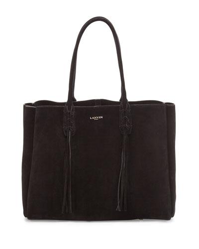Small Suede Fringe Tote Bag, Black