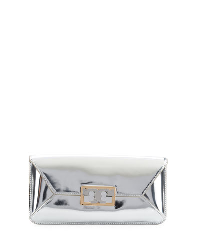Gigi Metallic Clutch Bag, Silver
