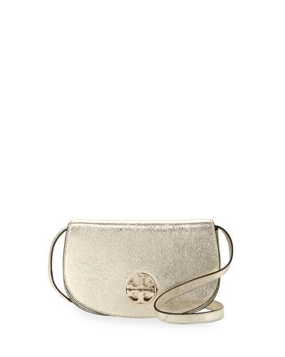 Jamie Metallic Leather Clutch Bag