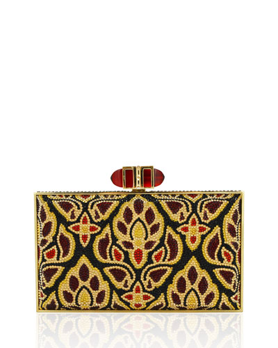 Coffered Rectangle Evening Clutch Bag, Silver/Emerald