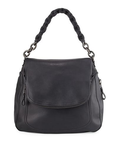 Jennifer Oversized Leather Shoulder Bag, Black