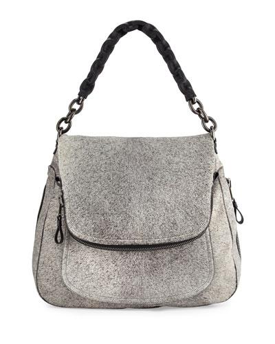 Jennifer Oversized Calf-Hair Shoulder Bag, Gray