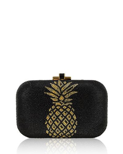Pineapple Crystal Evening Clutch Bag, Champagne/Jet