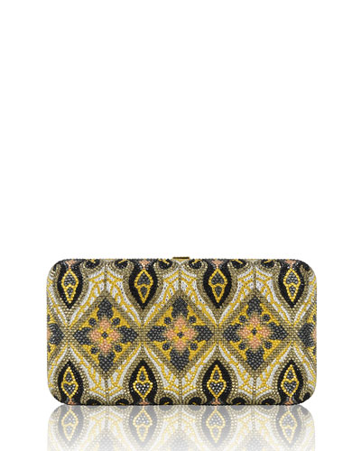 Smooth Rectangle Crystal Evening Clutch Bag, Champagne/Palladium