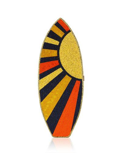 Surfboard Crystal Evening Clutch Bag, Champagne/Sunflower