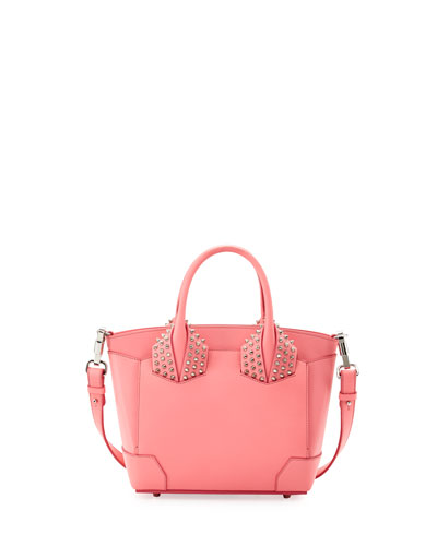Eloise Small Leather Spike Tote Bag, Pink
