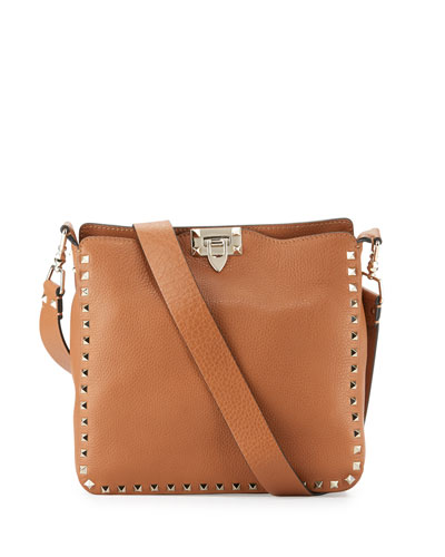Rockstud Small Flip-Lock Messenger Bag, Light Cuir