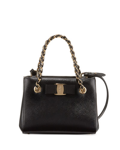 Melike Mini Leather Crossbody Bag, Nero