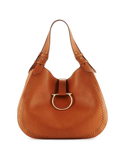 Perrine Gancio Bracelet Hobo Bag, Sella