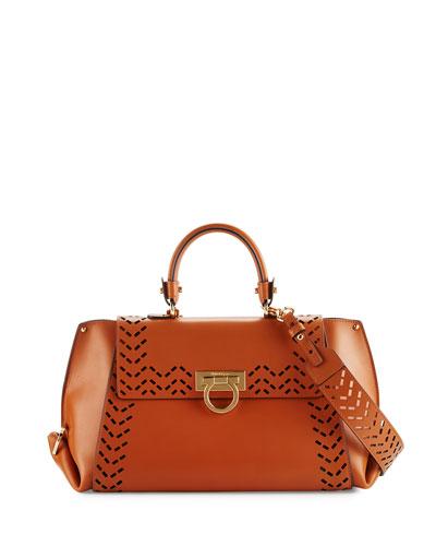 Sofia Medium Perforated Leather Satchel Bag, Sella