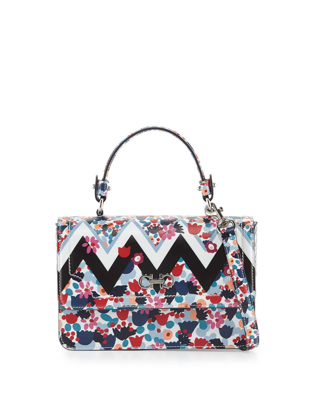 Seila Small Floral Top-Handle Satchel Bag, Base Neutro