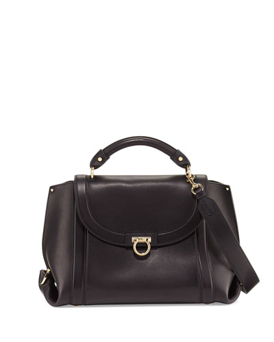 Suzanna Medium Leather Satchel Bag, Nero