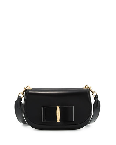 Anna Leather Shoulder Bag, Black (Nero)
