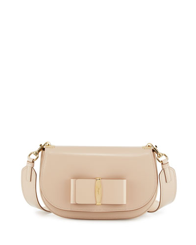 Anna Leather Shoulder Bag, New Bisque