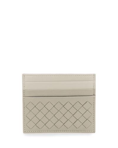 Intrecciato Leather Card Case, Gray