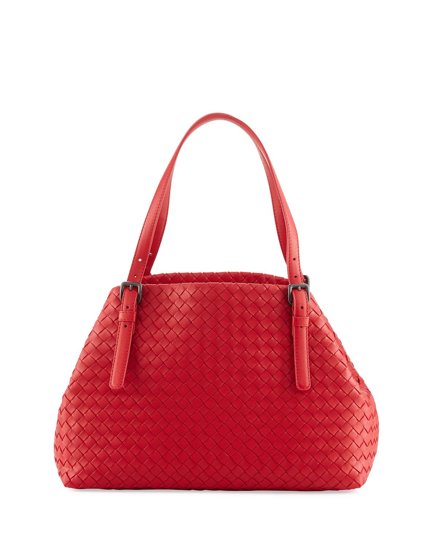 Intrecciato Medium A-Shaped Tote Bag, Red