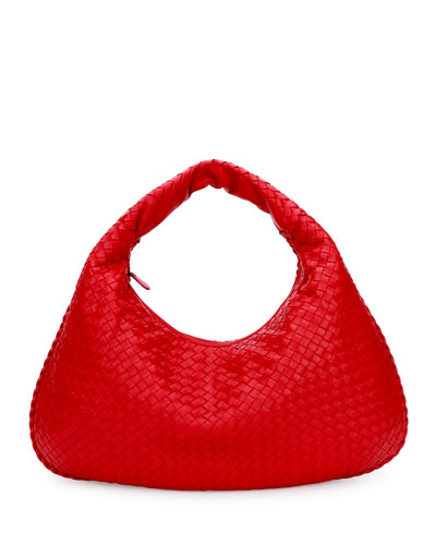 Veneta Intrecciato Large Hobo Bag, Red