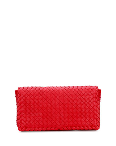 Small Intrecciato Flap Convertible Clutch Bag, Red