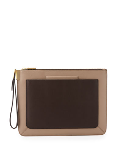 Ishi Large Leather Wristlet, Oyster/Cacao