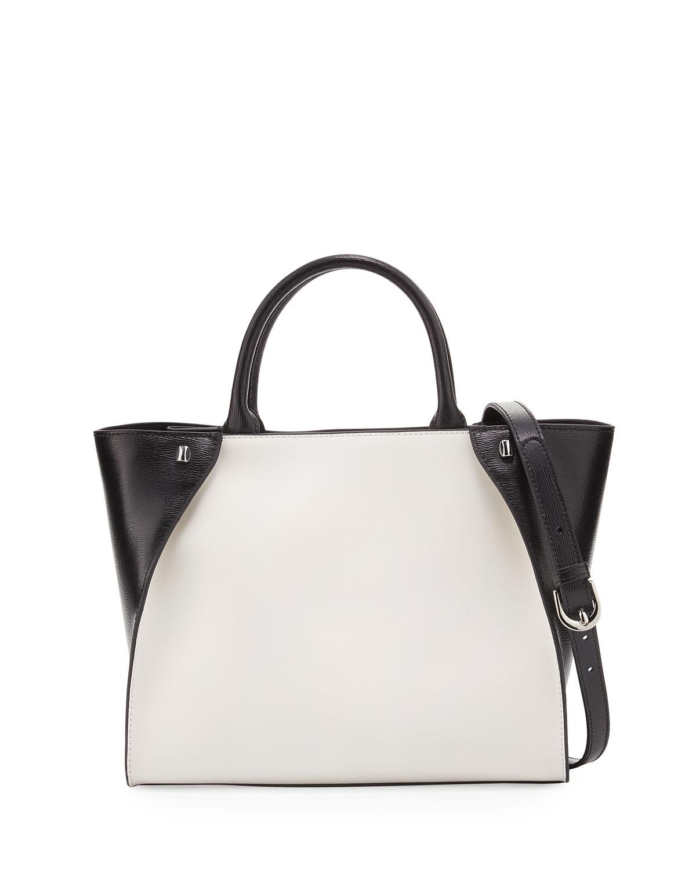 Orla Colorblock Leather Tote Bag, White/Black