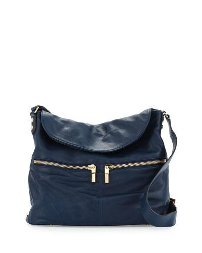 James Leather Hobo Crossbody Bag, Navy