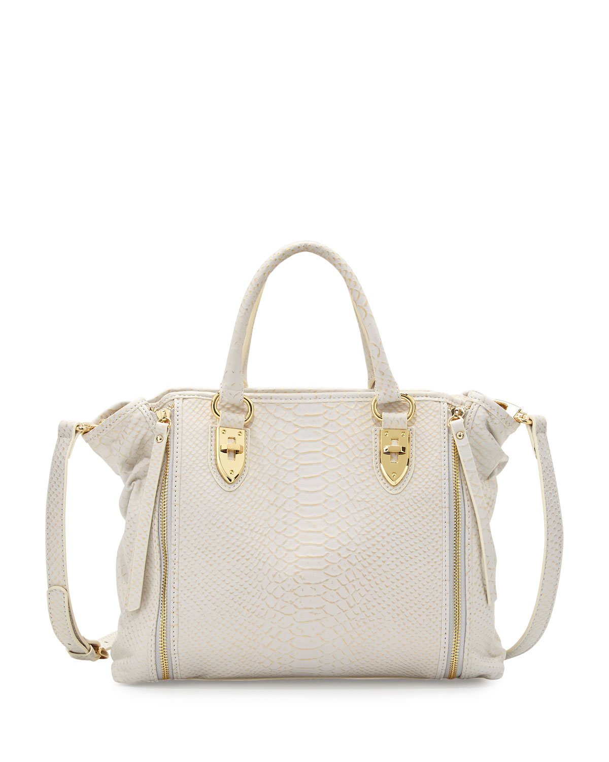 Oreet Snake-Embossed Leather Tote Bag, White