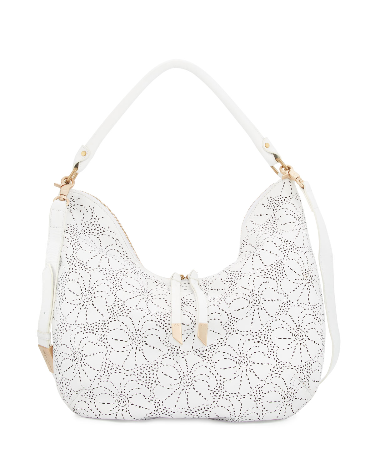 Mia Perforated Leather Hobo Bag, White