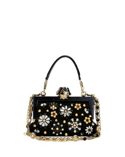 Dolce & Gabbana Chian bags VANDA SMALL JEWELED TOP-HANDLE EVENING BAG, BLACK