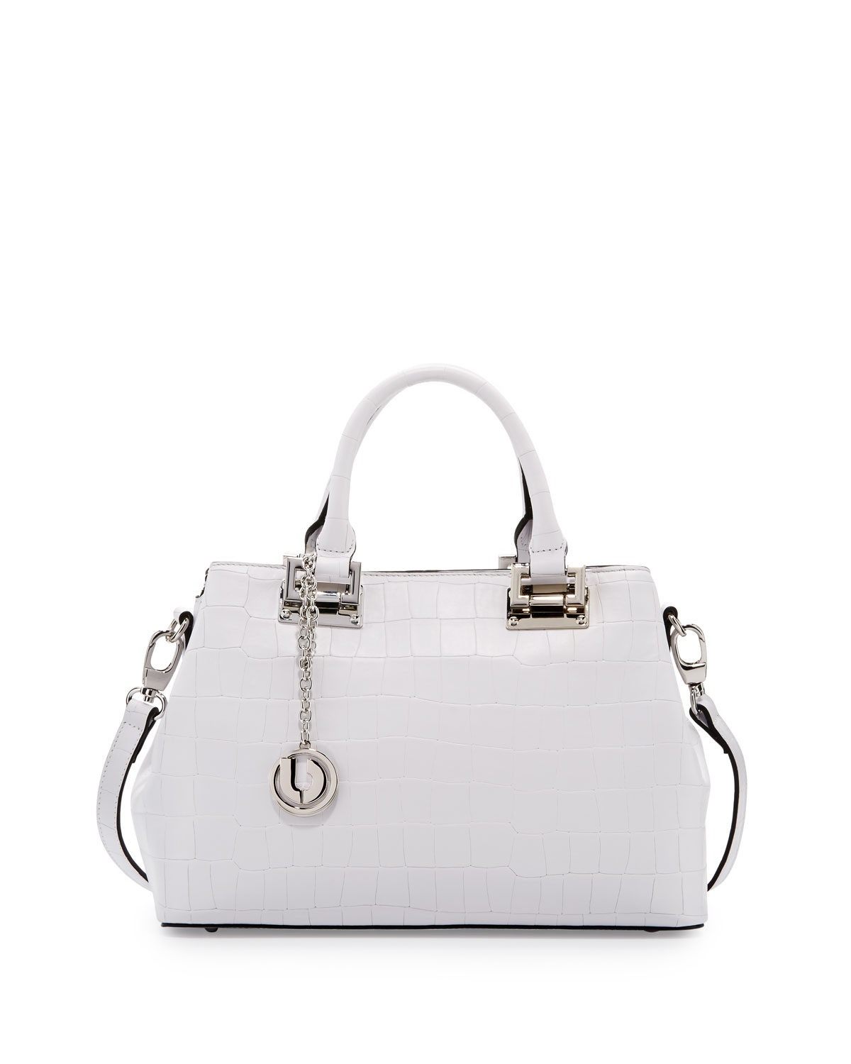 Peggy Alligator-Embossed Leather Satchel Bag, White