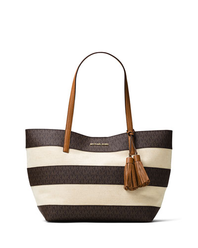 Large Striped Canvas Tote Bag, Brown