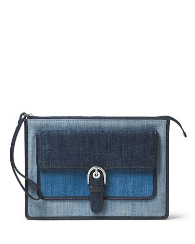 Cooper Medium Denim Wristlet, Indigo/Light Denim/Washed Denim