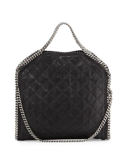 Falabella Three-Chain Fold-Over Tote Bag, Black