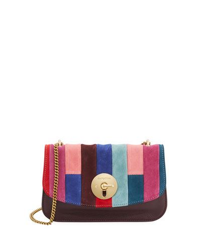 Lois Patchwork Flap Crossbody Bag, Dark Plum