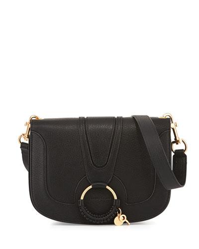 Hana Medium Ring Saddle Bag, Black