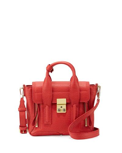 Pashli Mini Leather Satchel Bag, Red