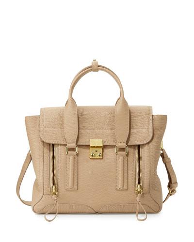 Pashli Medium Leather Satchel Bag, Cashew