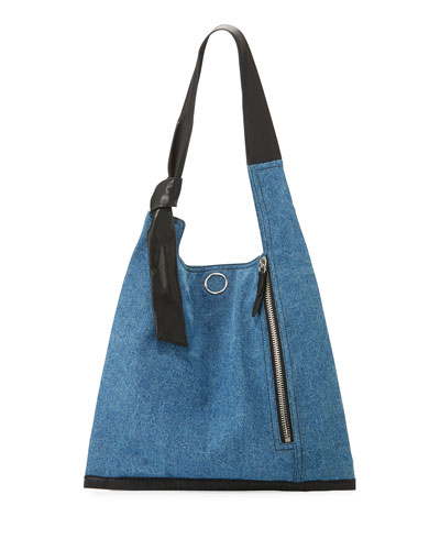 Elisa Leather-Trim Denim Shoulder Bag, Washed Indigo/Black